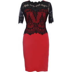 New Elegant Retro Floral Sexy Lace Half Sleeve Peplum Patchwork Party Club Bodycon Pencil Dress