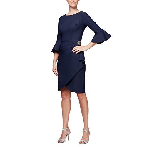 Alex Evenings Women's Slimming Short Ruched Dress with Ruffle Skirt (Petite and Regular Sizes), Navy Bell Sleeves, 10