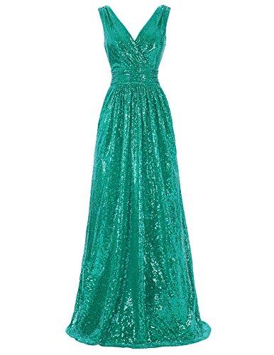 Kate Kasin V-Neck Long Sequined Dresses For Women Evening Party Green USA2 KK199-6