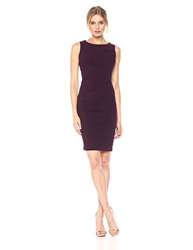 Calvin Klein Women's Round Neck Sleeveless Sheath with Starburst Detail, Aubergine 17, 2