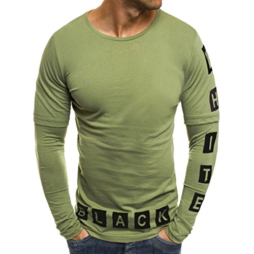 Kstare Men's Casual Solid Color Letters Patchwork Long Sleeve Shirt Tops