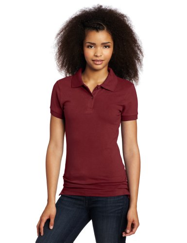 LEE Uniforms Juniors Stretch Pique Polo, Burgundy, Medium