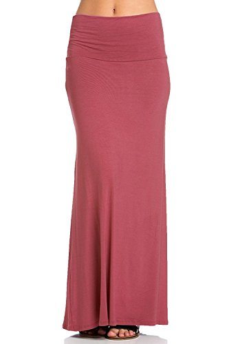 Azules Women's Rayon Span Regular to Plus Size Maxi Skirt – Solid (X-Large, Dust Rose)