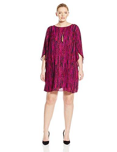 AGB Women's Plus-Size Tulip Sleeve Scoop Neck Day and Night Dress, Fuchsia Pat B, 14W