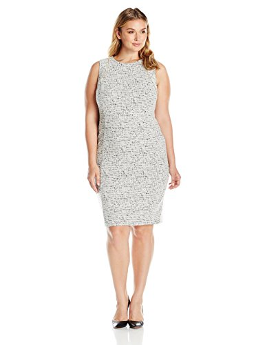 Calvin Klein Women's Plus Size Printed Sheath with Zip at Shoulder, Soft White/Black Combo, 20W