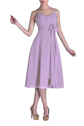 Homecoming Cocktail Junior A-line V-neck Chiffon Modest Bridesmaid Dress Tea Length, Color Lilac ,6