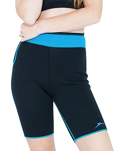 Delfin Spa Women's Heat Maximizing Neoprene Exercise and Anti-Cellulite Shorts, TURQUOISE, Small