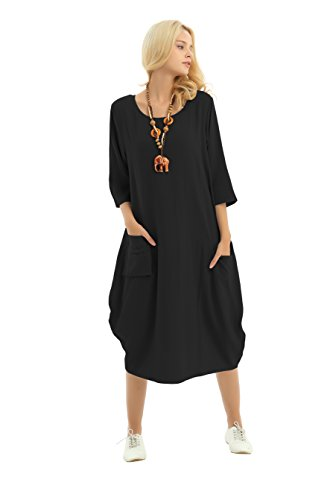 Anysize Soft Linen Lantern Loose Dress Spring Summer Fall Plus Size Clothing Y19, Black, Large, Tag 110