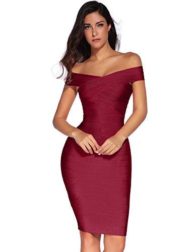 Meilun Women's Rayon Strap V-Neck Bandage Bodycon Party Dress (M, Wine)