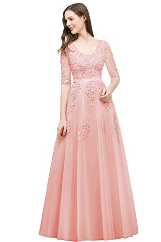 Babyonlinedress Elegent Floral Lace Long Bridesmaid Half Sleeve Evening Prom Gown(Pink,16)