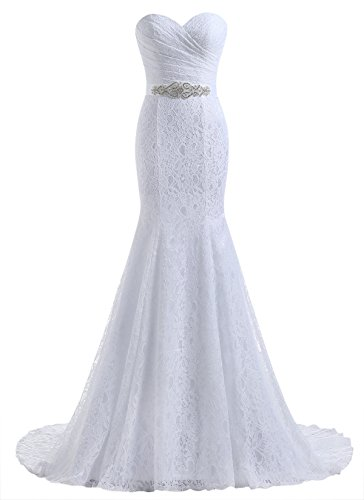 Beautyprom Women's Lace Mermaid Bridal Wedding Dresses White US16