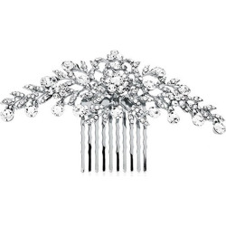 Glistening Silver and Clear Crystal Petals Bridal, Wedding Or Prom Hair Comb Accessory