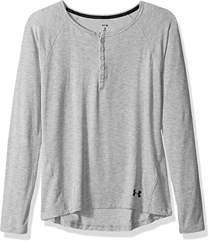 Under Armour Women's Athlete Ultra Comfort Recovery Henley Sleepwear,True Gray Heather/Carbon Heather, Medium