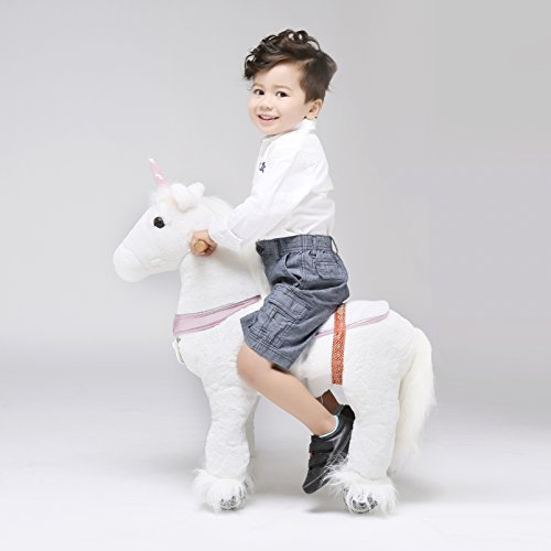UFREE Horse Action Pony, Walking Horse Toy, Rocking Horse with Wheels Giddy up Ride on for Kids Aged 3 to 5 Years Old, Unicorn with Pink Horn
