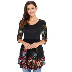 Casual Women's Polyster O-Neck  Print  3/4 Sleeve Tops