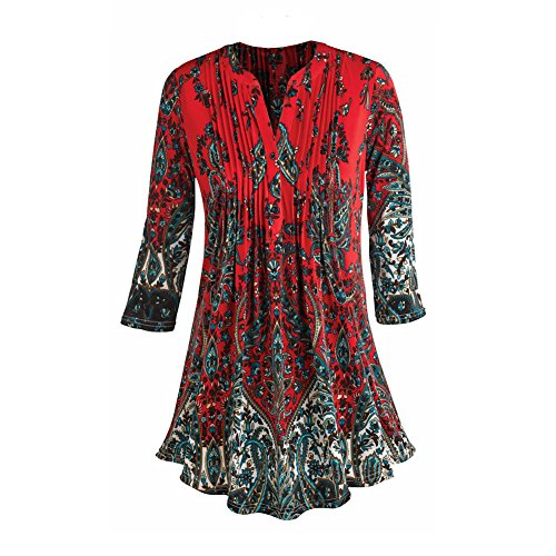 CATALOG CLASSICS Women's Tunic Top – Pleated Paisley 3/4 Sleeve Printed Blouse- Red – Large