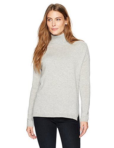 Lark & Ro Women's 100% Cashmere 12-Gauge Slouchy Turtleneck Pullover Sweater, Light Grey, Medium