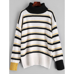 Turtleneck Striped Pullover Sweater