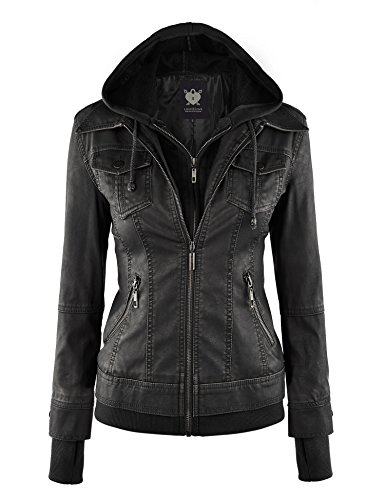 WJC664 Womens Faux Leather Jacket With Hoodie M Black