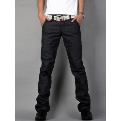 Straight Leg Zip Fly Flap Pocket Pants