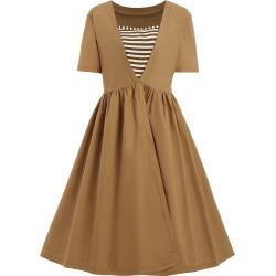 Vintage Striped Square Neck Plus Size Dress