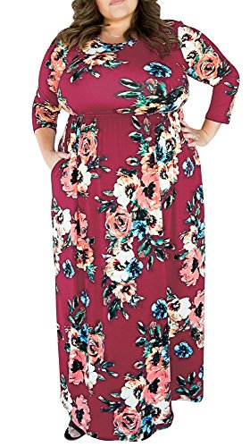 Delcoce Long Maxi Dress with Floral Print Womans Plus Size Dresses 3/4 Sleeve Pocket 4X