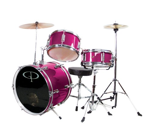 GP Percussion GP50MPK Complete Junior Drum Set (Pink, 3-Piece Set)