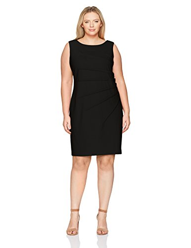 Calvin Klein Women's Plus Size Sleeveless Starburst Sheath Dress, Black, 16W