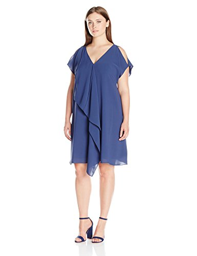 Adrianna Papell Women's Plus Size Cold Shoulder Asym Drape Dress, Dusk Navy, 14W