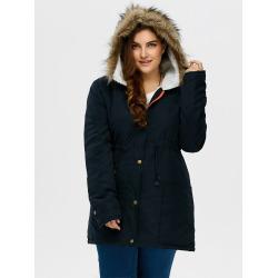 Plus Size Hooded Parka Coat