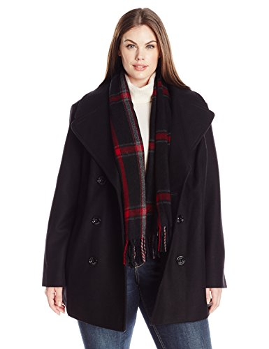London Fog Women's Plus Size Double Breasted Peacoat with Scarf, Black, 3X