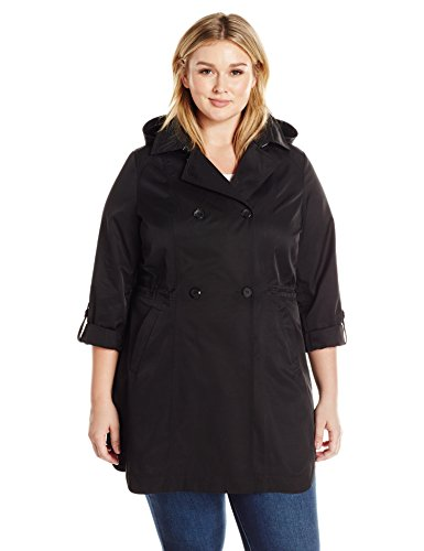 Lark & Ro Women's Plus Size Double Breasted Cinch Trench Coat, Black, 1X