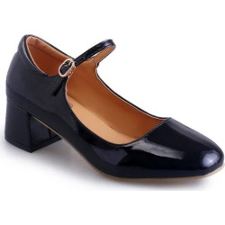 Solid Word Buckle Shallow Mouth Thick Square Dance Shoes