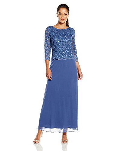 Alex Evenings Women's Petite Long Lace and Chiffon Dress, Wedgewood, 6/Petite