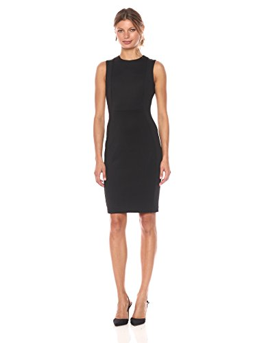 Calvin Klein Women's Scuba Sleeveless Princess Seamed Sheath Dress, Black 17, 14