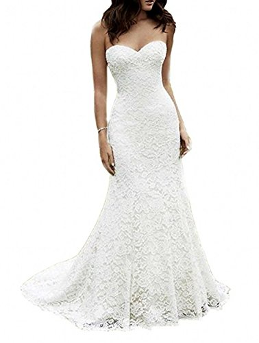 SIQINZHENG Women's Sweetheart Full Lace Beach wedding Dress Mermaid Bridal Gown, White, 2
