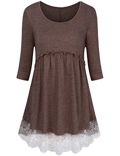 FANSIC Women Tops Plus Size,A Line Babydoll Tops Flowy Tunics For Women To Wear With Leggings Coffee Medium