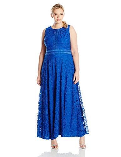 London Times Women's Plus-Size Swirl Lace Maxi with Mesh Trim, Blue, 16W