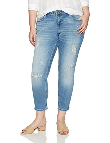VIGOSS Women's Plus Size Chelsea Skinny Jean, Light Destruction, 18