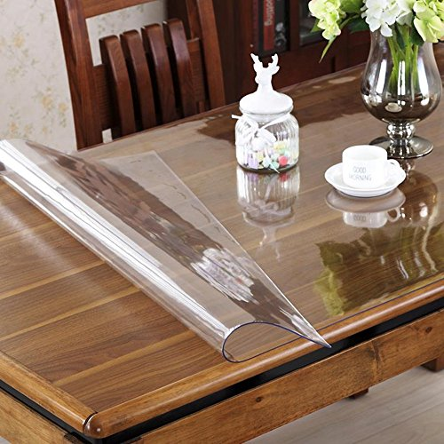 OstepDecor Custom 2mm Thick Crystal Clear PVC Table Cover Protector Desk Pads Mats Multi-Size | Rectangular 46 x 120 Inches (117 x 305cm)