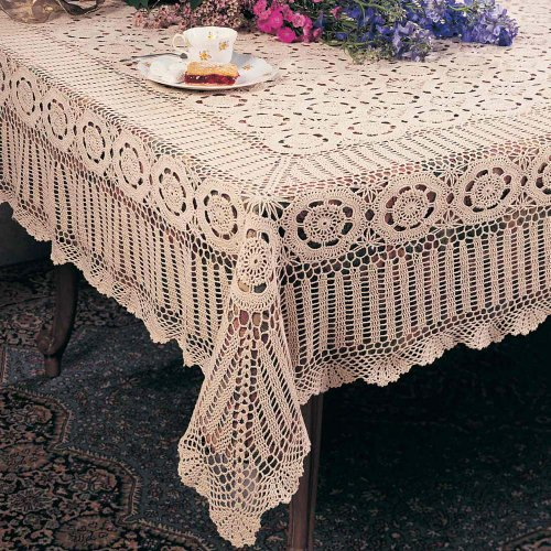 Handmade Crochet Lace Tablecloth. 100% Cotton Crochet. Ecru, 72 Inch X108 Inch Oblong. One piece .