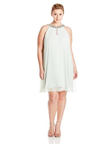 Adrianna Papell Women's Plus Size Chiffon Veiled Banded Sheath Dress, Dusty Mint, 14W