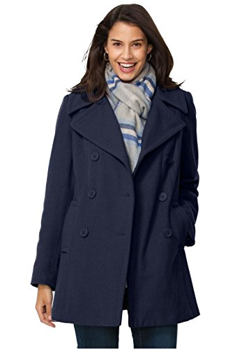 Women's Plus Size Wool-Blend Double-Breasted Peacoat Navy,34 W