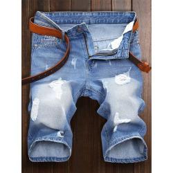 Zipper Fly Denim Shorts