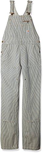 Carhartt Women's Brewster Double Front Bib Overalls, Railroad Stripe, M Petite