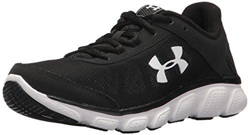 Under Armour Women's Micro G Assert 7 Wide Running Shoe, Black/White, 12 2E US