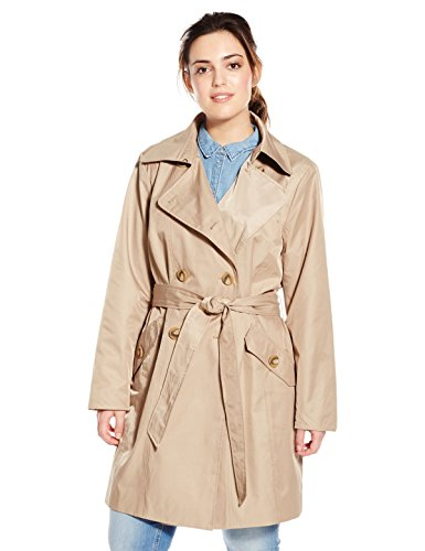 Anne Klein Women's Plus-Size Classic Double-Breasted Trench Coat Plus, British Khaki, 2X