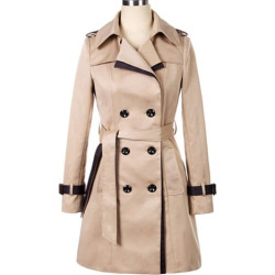 Long Sleeves Lapel Double-breasted Back Strappy Beam Waist Long Edition Elegant Trench Coat