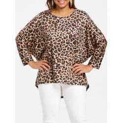 Plus Size High Low Leopard Top