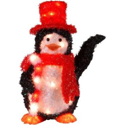 22 Tinsel Penguin with Candy Cane with 35 Clear Indoor/Outdoor Lights